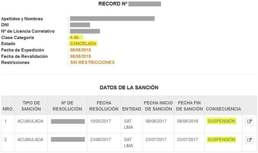 Record de Conductor MTC - 5